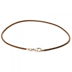 Leather Necklace, Brown, Without Lock