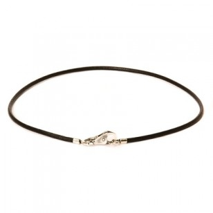 Leather Necklace, Black, Without Lock