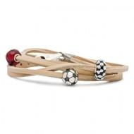 Leather Bracelet, Beige, Without Lock