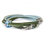 Leather Bracelet, Light Blue/Green, Without Lock