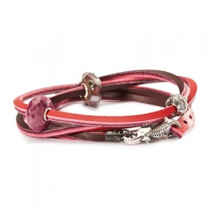 Leather Bracelet, Red/Bordeaux, Without Lock