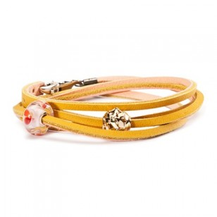 Leather Bracelet, Yellow/Light Pink, Without Link