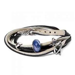 Leather Bracelet, Black/Gray, Without Lock