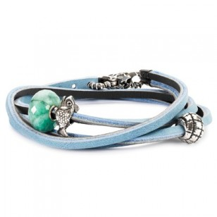 Leather Bracelet, Light Blue/Dark Grey, Without Lock