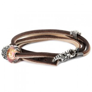 Leather Bracelet Brown/Light Grey, Without Lock